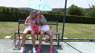 Ana Rose and other lesbians enjoy masturbating on the tennis court