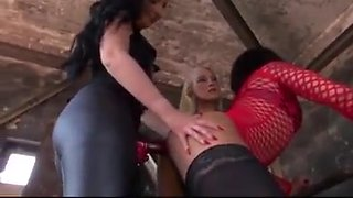 Two mistress fucking hard a slave