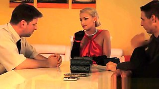 Submissive euro punished in front of husband