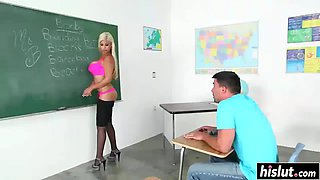 busty teacher plays with a stiff dick