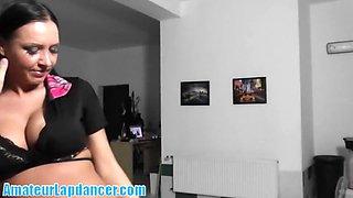 Busty brunette does amazing lapdance show