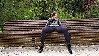 Jeny Smith fashion pantyhose public flashing