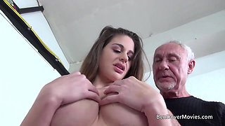 Old Ben Dover gets very lucky with busty pornstar Cathy Heaven