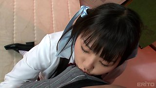 cute schoolgirl learns to suck a cock!