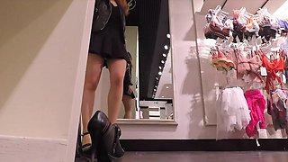 Jeny Smith flashing her seamless pantyhose while shopping