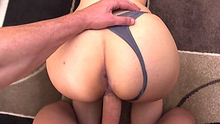 Hot maid is working her sexy mouth around a large cock while cleaning