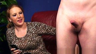 CFNM beauty teasing submissive naked guy