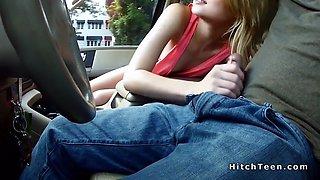blonde hitchhiker bangs in strangers car