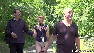 Czech slave anal fucked in public bar