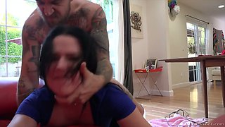 Sassy brunette Trina Rush gives a rimjob and blowjob to one kinky dude from hookups site