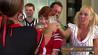 American swinger couples meet in a sexual encounter in the red orgy room. the swing house is on fire