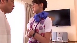 Japanese hotel maid foot fetish sex in pantyhose