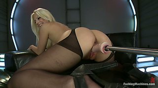 Pretty Jessie Volt gets her ass and then pussy toyed