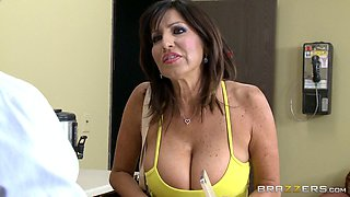 Mom with big jugs has a younger guy bang her deep and hard