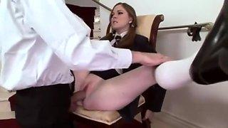 Schoolgirl punished to fuck principal