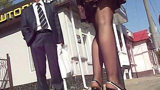 Upskirt voyeur video of a stimulating chick