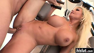 Busty blonde gets drilled at the gym