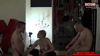 German slave by anal dildo amateur threesome with femdom