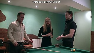 Two cute brutal men bang one slutty blond girlie on billiard table hard