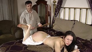 Sarah gets spanked by the master of the house