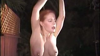 Curvy white redhead wife with big tits suspended and whipped