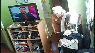 Hidden camera filmed my mature aunty half naked in her room