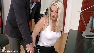 Alluring office worker Blanche Bradburry ass fucked by HR manager