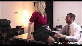 Blonde Old Cougar Boss Cheats With Young Employee