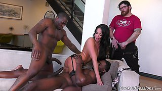 Whore wife Anissa Kate is fucked by two black dudes in front of cuckold husband