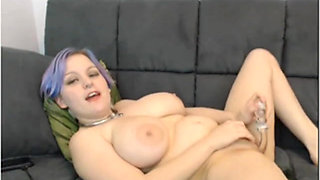 Busty midget toys to orgasm multiple times