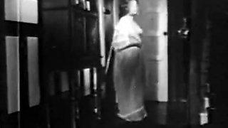 Vintage big boobed brunette chased by Nosferatu