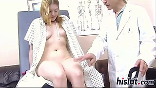 Slutty blonde rides her doctor is stiff dong
