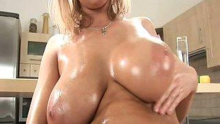Blonde sweet gal misses a huge cock. Huge boobs forever