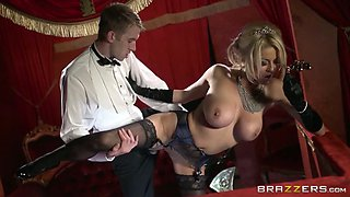 Glamour blonde with appetizing melons  rides dick and gives her head at the theater