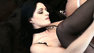 Voluptuous lesbian Lana Giselle is eating girlfriend's pussy in 69 pose