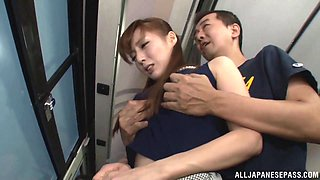 On a public bus an Asian girl gets fucked hard from behind