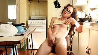 Hippie girl falls of the chair during orgasm