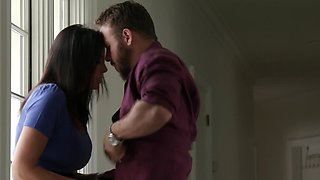 Amorous cougar is in the bedroom with her new handsome lover