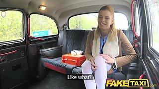 Fake Taxi Nurse in sexy lingerie has car sex