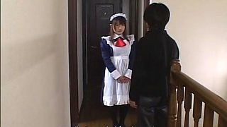Japanese teen maid toys masturbation