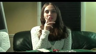 Newport smoking teen presents her Cigarette Smoking Skills 3