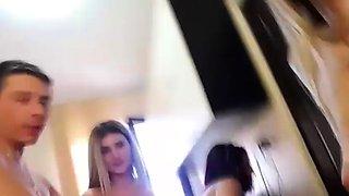 Three horny housewives share one husband on webcam show live