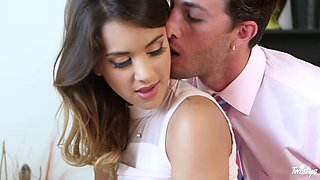 Naughty hottie gets drilled hard in the office