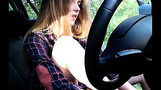 super cute teen masturbating inside her car