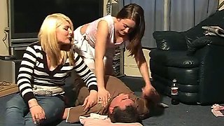 Two drunk spoiled whores ride me in turns in 3some