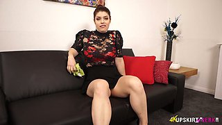 Adorable British milf Lucia Love shows off her yummy pussy upskirt