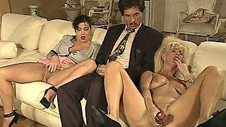 Fine and wicked white European chicks on the couch masturbating