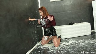 Red haired whore Bibi Fox goes wild in glory hole room and smears sperm all over her body