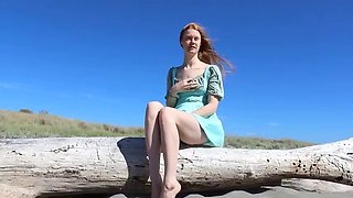 Red head flashing at the beach