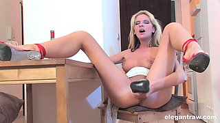 Addicted to sex slut Bambi Stewart fucks herself with different sex toys